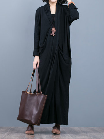 Back Split Pure Color Maxi Dresses-Newchic-