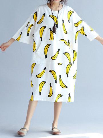 Banana Printed Loose O-Neck Half Sleeve Women Casual Dresses-Newchic-
