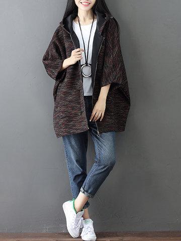 Batwing Sleeve Casual Sweatshirt Coats-Newchic-