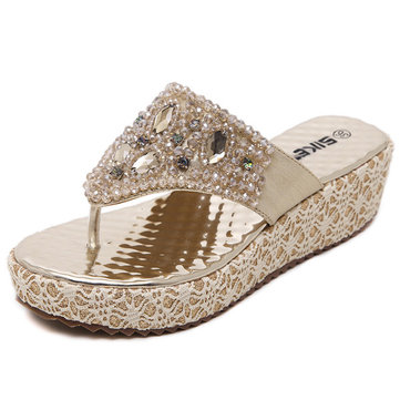 Bead Crystal Shiny Stripe Clip Toe Platform Beach Sandals Flip Flops-Newchic-Multicolor