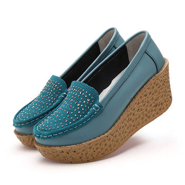 Beaded Pattern Platform Leather Rivet Casual Shoes For Women-Newchic-Multicolor