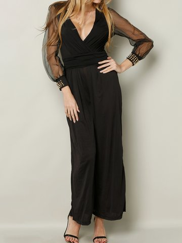 Beading Patchwork Long Sleeves V-neck Wide Leg Women Jumpsuit-Newchic-