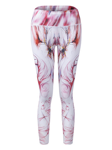 Beauty Printed Stretch Quick Dry Yoga Pants-Newchic-
