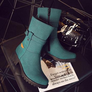 Big Size Buckle Button Zipper Mid Calf Metal Square Heel Boots-Newchic-Multicolor