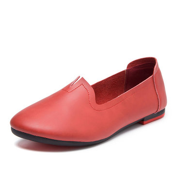 Big Size Leather Pure Color Soft Flat Casual Loafers-Newchic-Multicolor