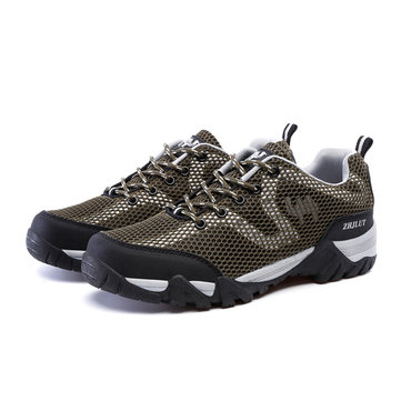 Big Size Men Women Lover Mesh Breathable Anti Skip Lace Up Outdoor Hiking Shoes-Newchic-Multicolor