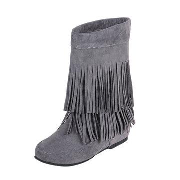Big Size Tassel Mid Calf Pure Color Slip On Boots-Newchic-Multicolor