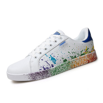 Big Size White Colorul Lace Up Casual Sport Running Sneakers-Newchic-Multicolor