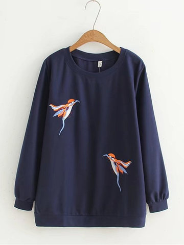Birds Embroidery Long Sleeve Blouses-Newchic-