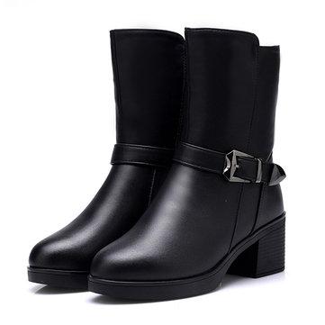 Black Buckle Knight Boots-Newchic-Black