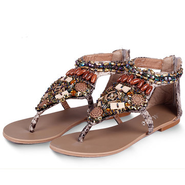 Bohemia Bead Chain Color National Wind Vintage Clip Toe Zipper Flat Sandals-Newchic-Multicolor