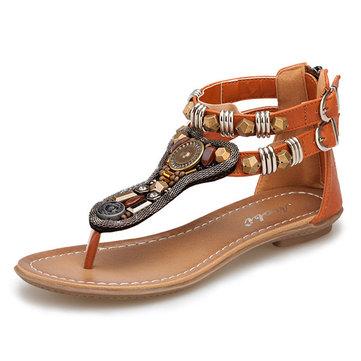 Bohemia Rhinestone Zipper Buckle Vintage Flat Sandals-Newchic-Multicolor