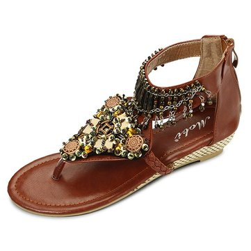 Bohemian Bead Chain Metal Pu Retro Clip Toe Zipper Flat Ankle Sandals-Newchic-Multicolor