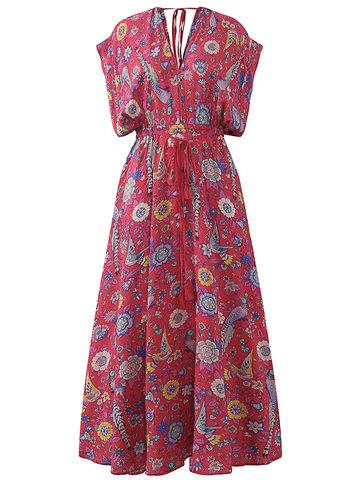 Bohemian Floral Printed Drawstring Waist Long Maxi Dresses-Newchic-