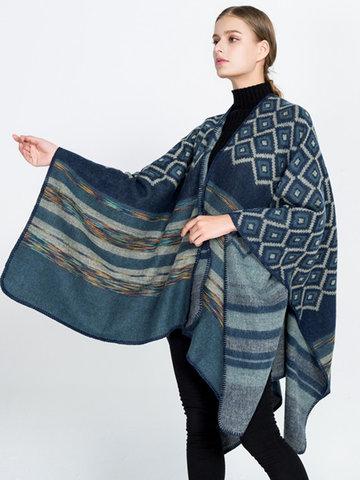 Bohemian Geometric Imitation Wool Shawl-Newchic-