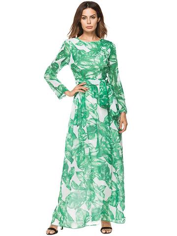 Bohemian Leaves Print Long Sleeve O-neck Women Maxi Dress-Newchic-