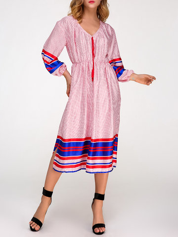 Bohemian Plaid Stripe Women Dresses-Newchic-