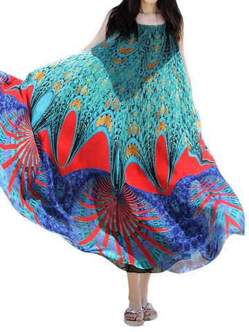 Bohemian Printed Sleeveless Chiffon Long Maxi Dresses-Newchic-