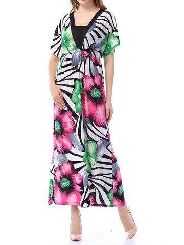 Bohemian Women Floral Printed Short Sleeve Maxi Dresses-Newchic-