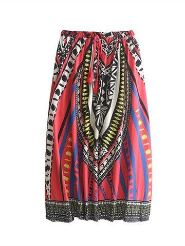 Bohemian Women Geometric Printed Elastic Waist Skirts-Newchic-