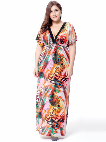 Bohemian Women Sexy Colorful Printed V-Neck High Waist Maxi Dress-Newchic-