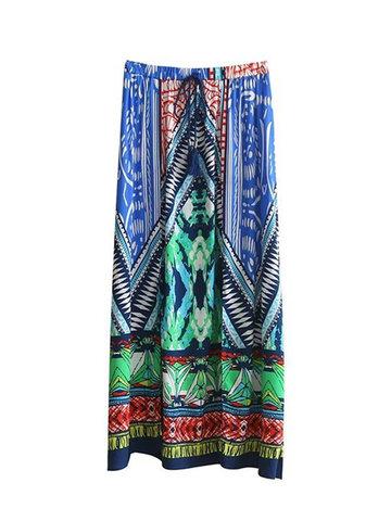 Bohemian Women Split Elastic Waist Printed Skirts-Newchic-