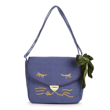 Bowknot Linen Embroidered Patchwork Crossbody Bag Square Commuting Handbag-Newchic-