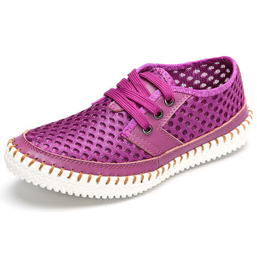 Breathable Mesh Lace Up Soft Sole Flat Casual Shoes For Women-Newchic-Multicolor