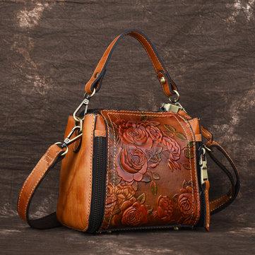 Brenice New Retro Genuine Leather Embossed Bucket Handbag-Newchic-