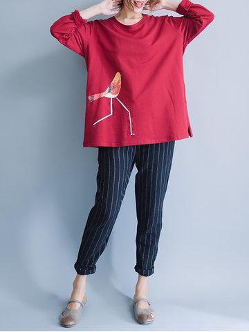 Brief Birds Printed Long Sleeve O Neck Women T-Shirts-Newchic-