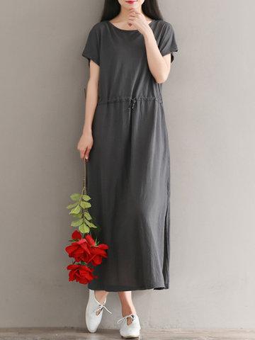 Brief Solid Color Women Slit Dresses-Newchic-