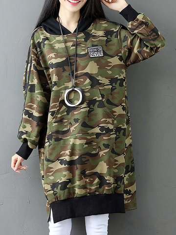 Camouflage Letter Patchwork Hooded Women Hoodies-Newchic-