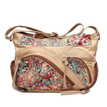 Canvas Tribal Flower Printing Multi-pockets Crossbody Bag Shoulder Bags For Women-Newchic-