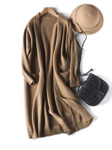 Casual Brief Women Long Cardigans-Newchic-