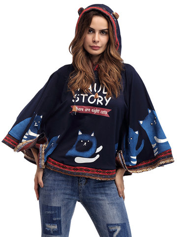 Casual Cartoon Batwing Sleeve Lacing Hooded Sweatshirt For Women-Newchic-