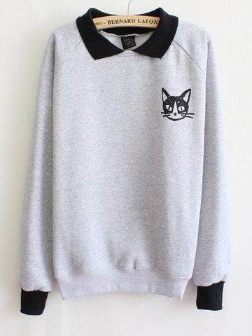 Casual Cat Print Women Sweatshirts-Newchic-