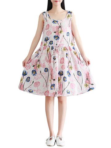 Casual Cute Printed O-Neck Sleeveless Women Dresses-Newchic-