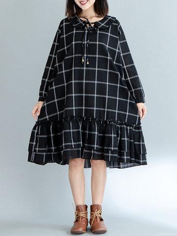 Casual Doll Collar Plaid Print Dresses-Newchic-