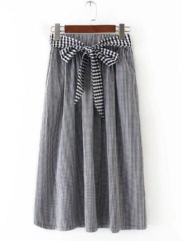Casual Drawstring Plaid High Waist Skirts-Newchic-