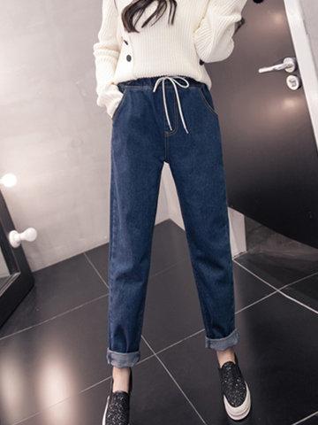 Casual Drawstring Waist Women Jeans-Newchic-