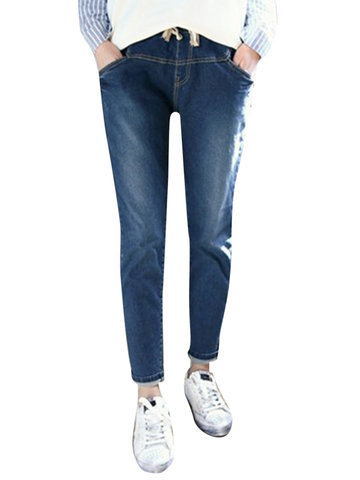 Casual Elastic High Waist Denim Pant-Newchic-