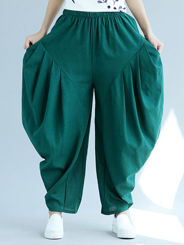 Casual Elastic Waist Pants-Newchic-