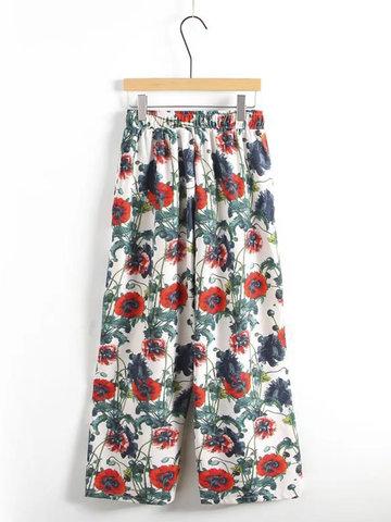 Casual Elastic Waist Printed Pants-Newchic-