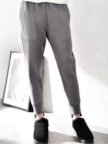 Casual Elastic Waist Women Thick Pants-Newchic-