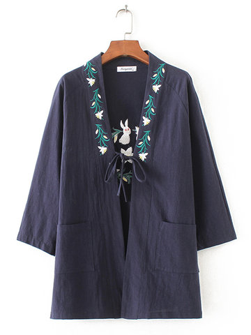 Casual Embroidery Long Sleeve Pockets Kimono For Women-Newchic-