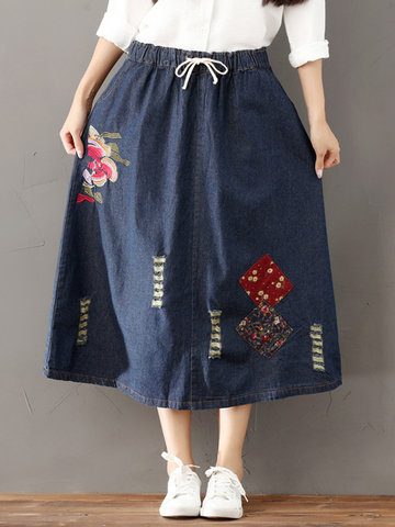 Casual Embroidery Patchwork Denim Elastic Waist Skirt For Women-Newchic-