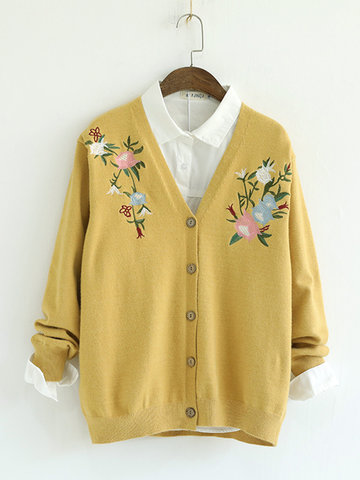 Casual Embroidery Women Cardigans-Newchic-