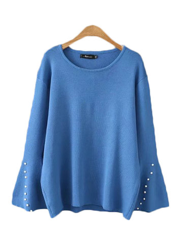 Casual Flare Sleeves Elasitc Sweaters-Newchic-