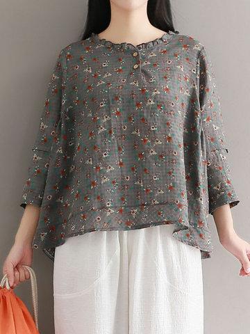 Casual Floral Print Irregular 3/4 Sleeve O-neck Women T-shirts-Newchic-