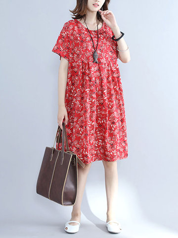 Casual Floral Printed Short Sleeve Knee-Length Dress For Women-Newchic-